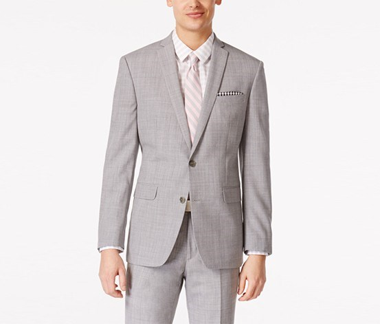 Men's Light Grey Slim Fit Blazer, Light Grey
