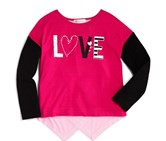 Design History Girls' Colorblocked Love Tee, Pink/Black