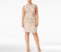 Connected Apparel Plus Size Floral Tiered Sheath, Pink/Green