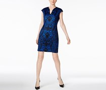 Connected Apparel Petite Printed Sheath Dress, Royal Blue