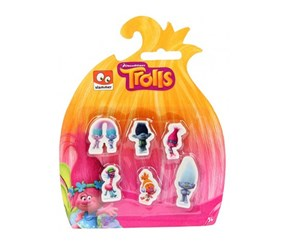 Trolls Erasers 6 pieces, Multicolor