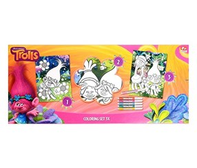 Dreamworks Trolls Coloring Set, Pink, White/Blue