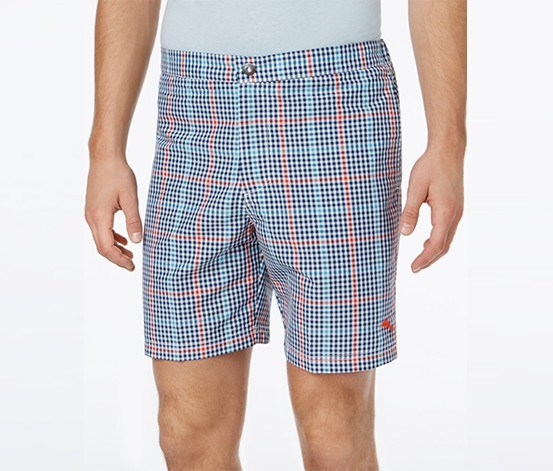 Men's Coasta Rio Plaid Swim Trunks, Bering Blue