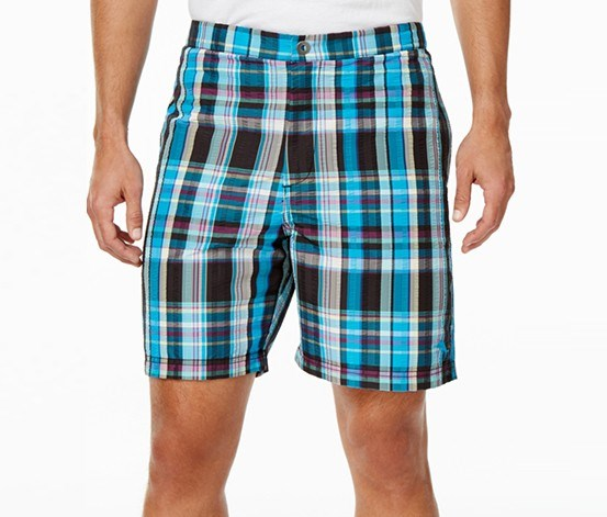 Mens Coasta Plaid Swim Trunks, Jet Black/Blue