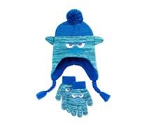 Trolls Branch Grumpy Face Hat & Gloves Set, Blue/Green