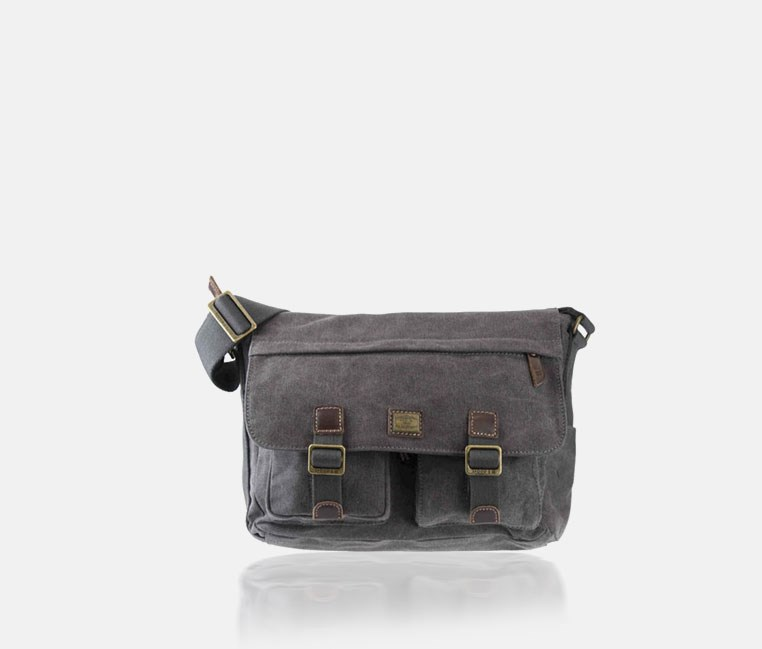 Heritage Large Canvas Messenger Bag Black