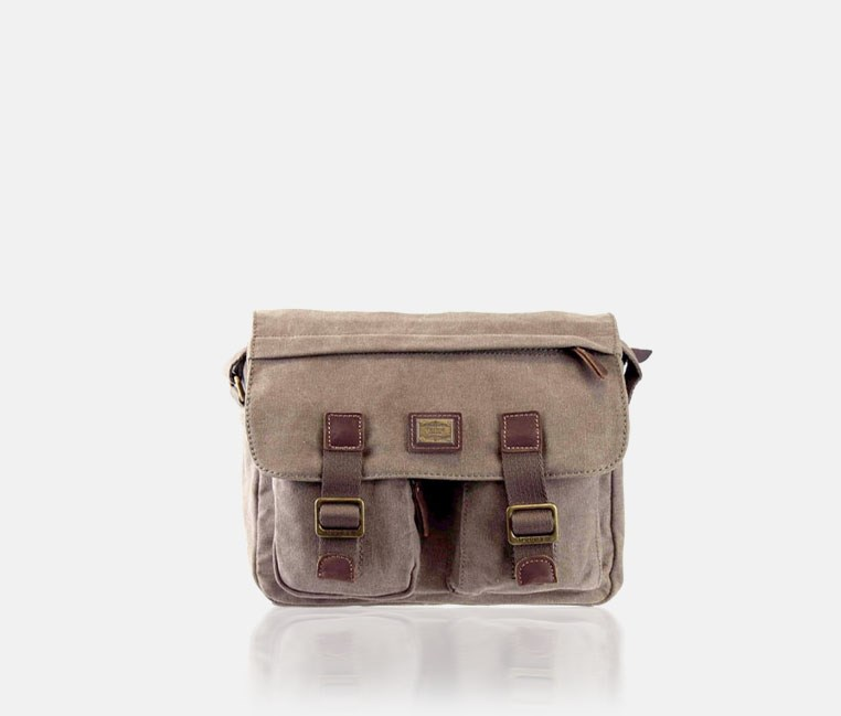 Heritage Small Canvas Messenger Bag Brown