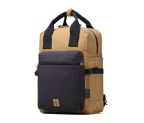 Heritage Canvas Leather Laptop Backpack, Navy/Camel
