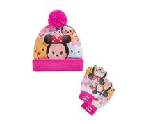 Kids Girls' 2 Pc. Tsum Tsum Hat and Gloves, Pink Multi