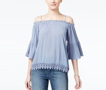Juniors' Lace-trim Off-the-shoulder Top, Chambray