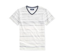 Univibe  Boy's Stripe T-Shirt, Off White/Indigo