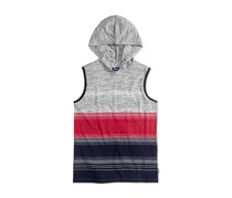 Univibe Colorblocked Stripe Hooded Shirt, New Red