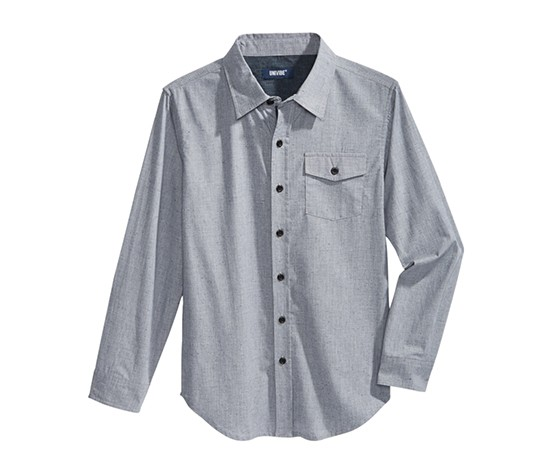Big Boy's Gripper Textured Cotton Shirt, Silver