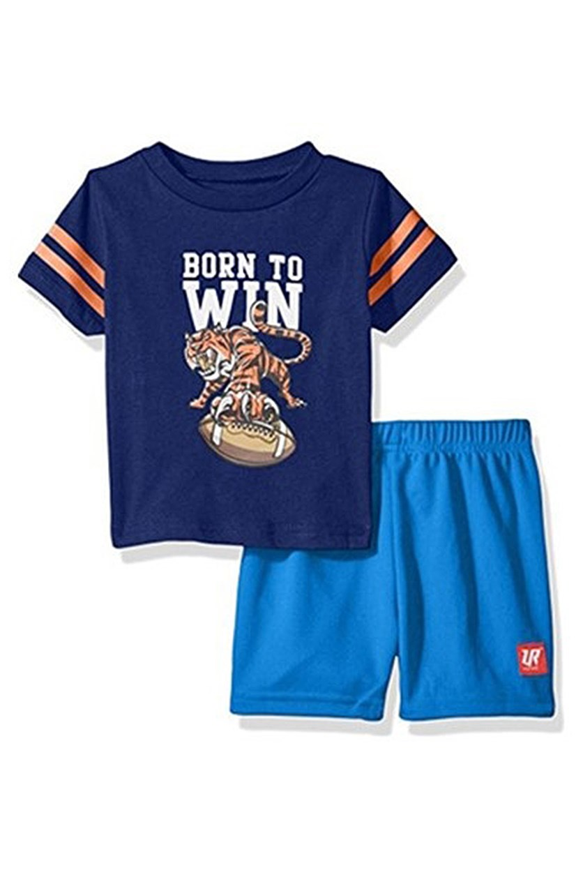 Baby Boy's 2 Pc Crew Neck Tee and Mesh Short Set, Navy/Blue