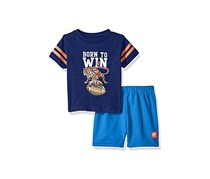 UR Active Baby Boy's 2 Pc Crew Neck Tee and Mesh Short Set, Navy/Blue