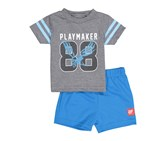 Toddlers Boys 2 Piece Play Maker 88 Set, Heather Grey/Blue