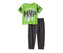 Toddlers 2 Pc Crew Neck Tee and Sweatpant Set, Green/Charcoal