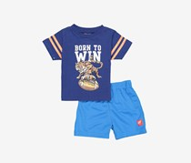 Toddlers Born To Win Graphic Print Set, Navy/Blue