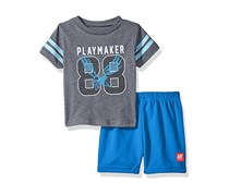 Toddlers Boys' 2 Pc Crew Neck Tee and Mesh Short Set, Grey/Blue