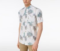 Univibe Mens California Palm-Print Shirt, White