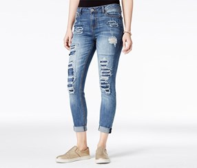 Vanilla Star Juniors Rip and Repair Super Soft Jeans, Gavin Wash