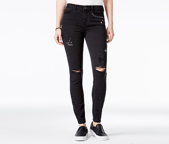 Vanilla Star Juniors' Embroidered Skinny Ankle Jeans, Grant