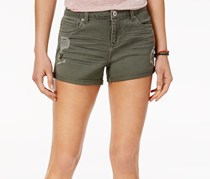 Vanilla Star Juniors Embroidered Denim Short, Military Olive
