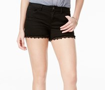 Vanilla Star Juniors' Crochet-Trim Denim Shorts, Black