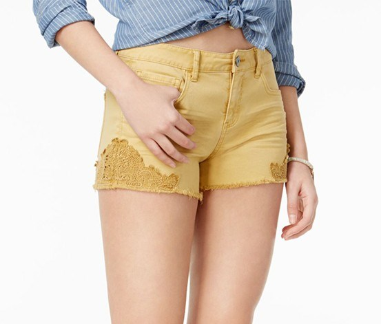Juniors Crochet-Trim Short, Faded Sun