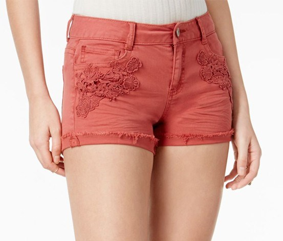Juniors' Crochet-Trim Cuffed Denim Shorts, Terra Cota