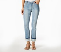 Juniors Lace-Trim Cuffed Crop Jeans, Medium Wash