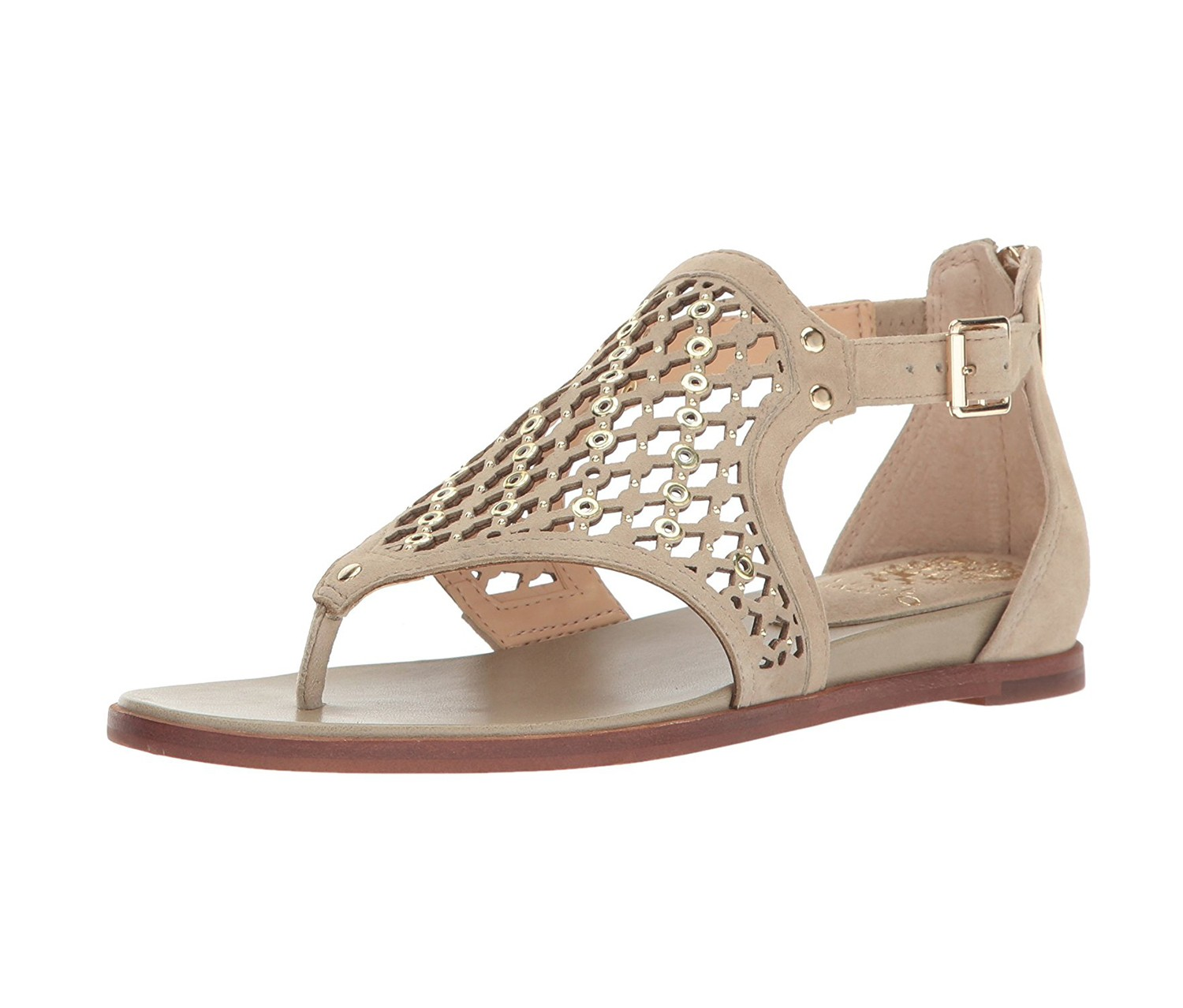 New Womens Vince Camuto Tan Sitara Leather Sandals Flats Buckle