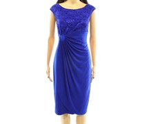 Women's Sequin Floral Lace Sheath Dress, Blue