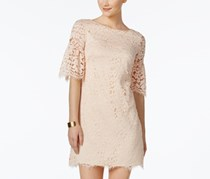 Women Lace Shift Dress with Bell Sleeves, Blush