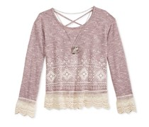 Beautees Crochet-Trim Top, Light Pink