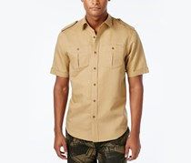 Sean John Mens Solid Short-Sleeve Shirt, Kelp