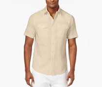 Sean John Men's Big & Tall Dual Front Pocket Linen Shirt, Light Beige