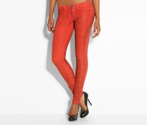 Women's Jegging Biker Animal Print Pants, Orange