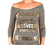 Guess Women Stripe T-Shirt Top, White/Black