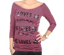 Guess Women Stripe T-Shirt Top, Pink/Black