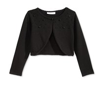 Bonnie Jean Girls' Rosette Beaded Cardigan, Black
