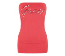 Guess Women's Rhinestones Logo Top, Pink/Coral