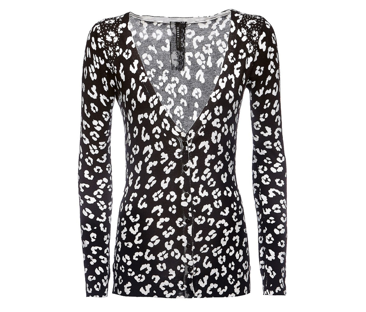 Guess Women's Animal Print Cardigan, Black/White - Brands For Less