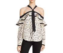 Guess Printed Off-The-Shoulder Ruffled Top, Ecru/Black