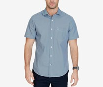 Nautica Men's Classic-Fit Cube-Print Cotton Shirt, Navy