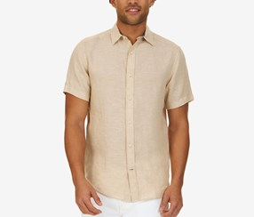 Nautica Men's Classic-Fit Linen Short-Sleeve Shirt, Sandy Bar