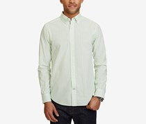 Nautica Mens Classic-Fit Striped Cotton Shirt, Patina Green