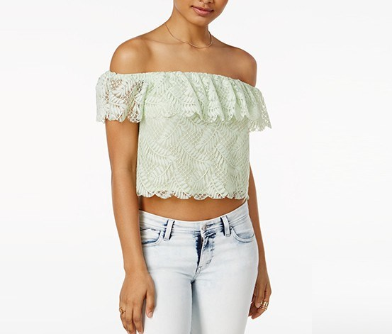 Sasha Off-The-Shoulder Lace Top, Gleam