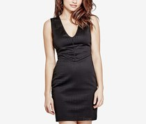 Lourdes Perforated Bodycon Dress, Jet Black