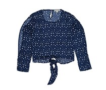 Moral Fiber Ladies Woven Print Split Sleeve Tie Front Blouse, Star Print Navy